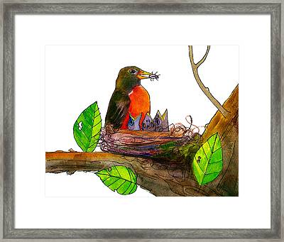 Robin Love Bug Framed Print by Blenda Studio
