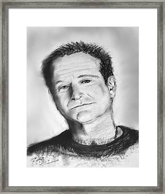 Robin Williams 2 Framed Print by Marcello Cicchini