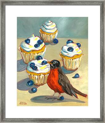 Robin With Blueberry Cupcakes Framed Print