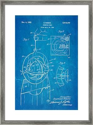Robins 3d Greeting Card Patent Art 1952 Blueprint Framed Print by Ian Monk