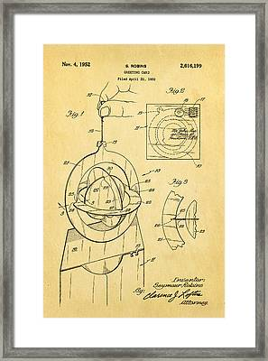Robins 3d Greeting Card Patent Art 1952 Framed Print by Ian Monk