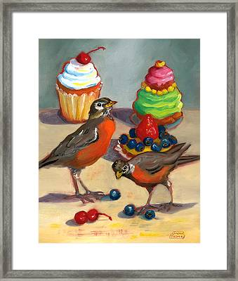 Robins And Desserts Framed Print by Susan Thomas