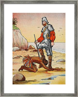 Robinson Crusoe And Friday Framed Print by English School