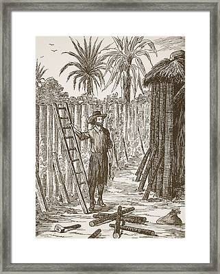 Robinson Crusoe Building His Bower Framed Print by English School