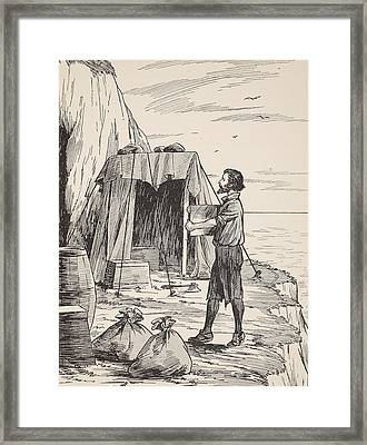 Robinson Crusoe Building His Shelter Framed Print by English School