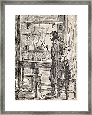 Robinson Crusoe Building Table And Chairs For His Cave Framed Print by English School