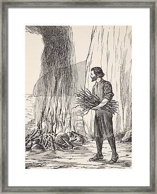 Robinson Crusoe Cooking Framed Print by English School