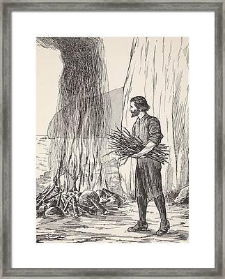Robinson Crusoe Cooking Framed Print