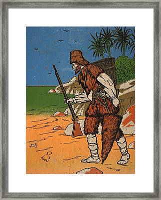 Robinson Crusoe, Illustration From The Framed Print by English School