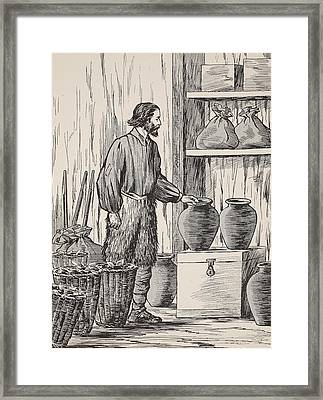 Robinson Crusoe In His Storeroom Framed Print by English School