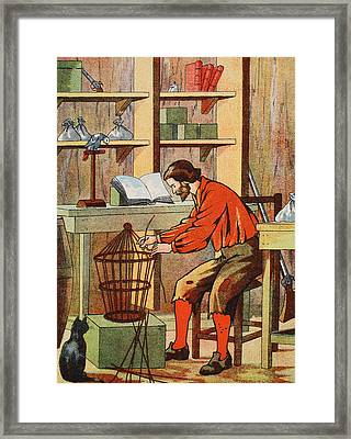 Robinson Crusoe Making A Cage For His Parrot Framed Print by English School