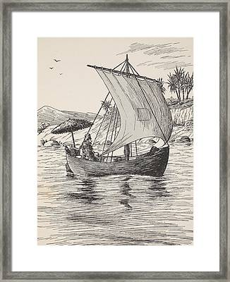 Robinson Crusoe On His Boat Framed Print by English School