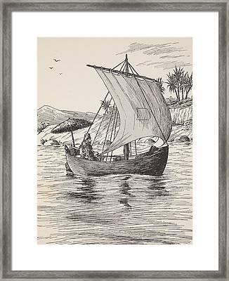 Robinson Crusoe On His Boat Framed Print by English School