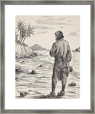 Robinson Crusoe On His Island Framed Print by English School