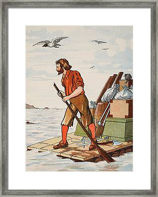 Robinson Crusoe On His Raft Framed Print by English School