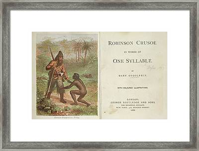 Robinson Crusoe Rescues Friday Framed Print by British Library