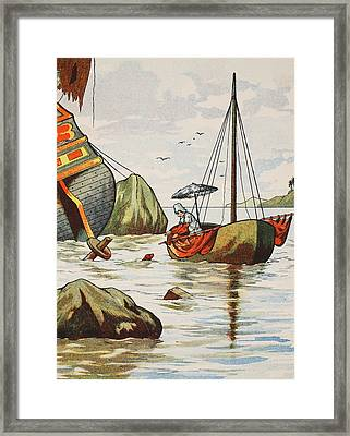 Robinson Crusoe Rescuing A Dog From A Spanish Shipwreck Framed Print by English School