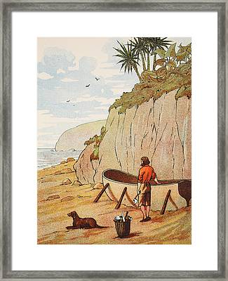 Robinson Crusoe's Canoe Framed Print by English School