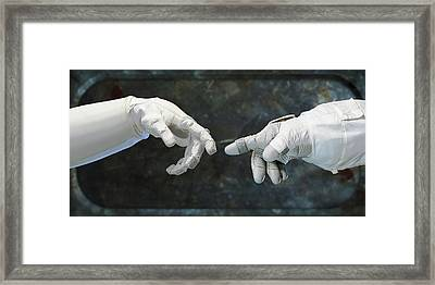Robonaut And Astronaut Framed Print by Science Photo Library