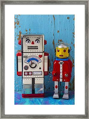 Robot Friends Framed Print by Garry Gay