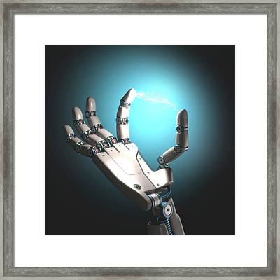 Robot Hand With Electric Connection Framed Print