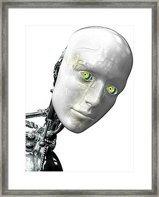 Robot Head Framed Print by Claus Lunau