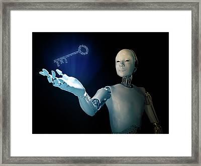 Robot Holding A Binary Code Key Framed Print