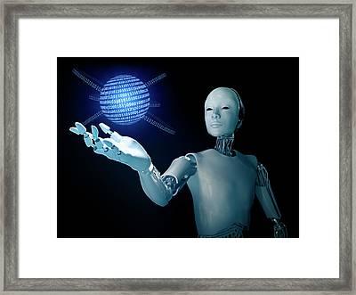 Robot Holding A Binary Code Sphere Framed Print