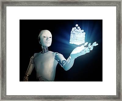 Robot Holding Cubes Framed Print by Andrzej Wojcicki