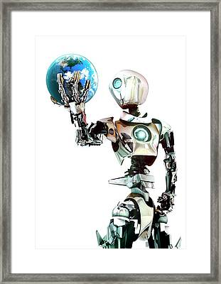 Robot Lamenting Earth Framed Print by Animate4.com/science Photo Libary