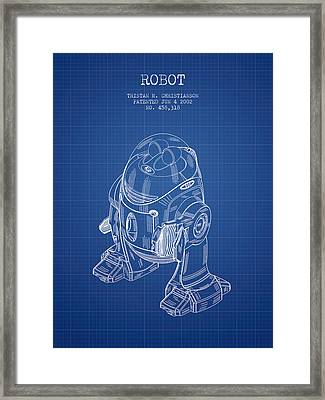Robot Patent From 2002 - Blueprint Framed Print by Aged Pixel