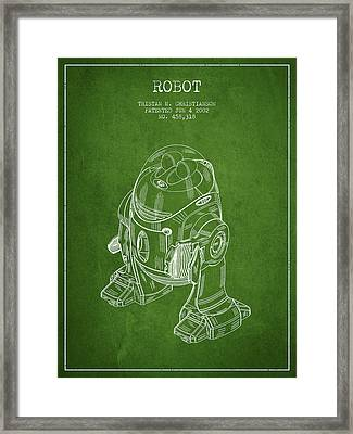 Robot Patent From 2002 - Green Framed Print by Aged Pixel
