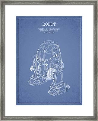 Robot Patent From 2002 - Light Blue Framed Print by Aged Pixel