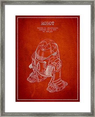 Robot Patent From 2002 - Red Framed Print by Aged Pixel