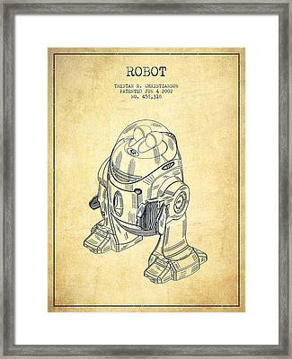 Robot Patent From 2002 - Vintage Framed Print by Aged Pixel