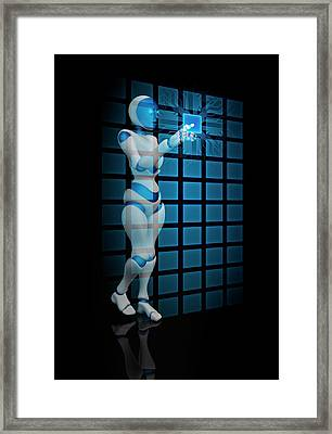 Robot Using Touch Screen Technology Framed Print by Andrzej Wojcicki