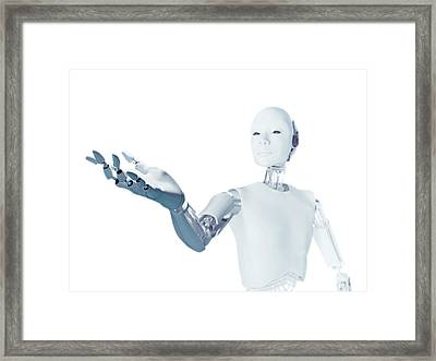 Robot With Arm Extended Framed Print