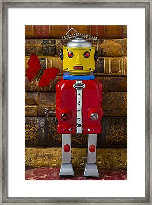 Robot With Butterfly Framed Print by Garry Gay