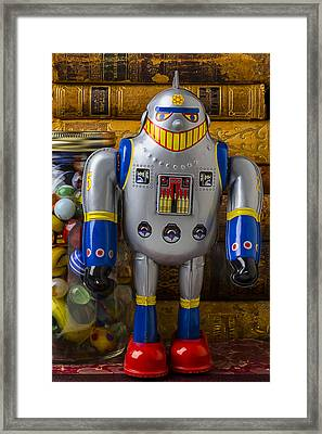 Robot With Marbles And Books Framed Print by Garry Gay