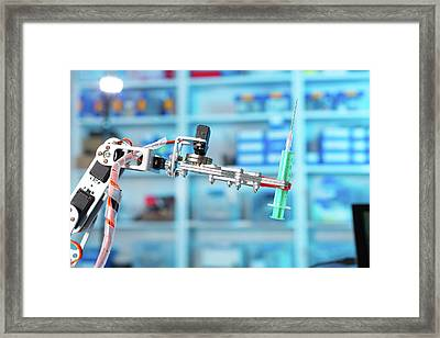 Robotic Equipment Holding Syringe In Lab Framed Print by Wladimir Bulgar