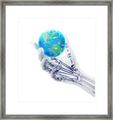 Robotic Hand And Globe Framed Print