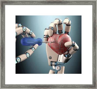 Robotic Hand Fixing Heart Framed Print by Ktsdesign