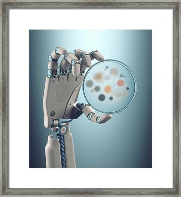Robotic Hand Holding A Petri Dish Framed Print