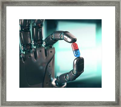Robotic Hand Holding Capsule With Dna Framed Print