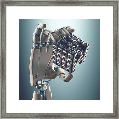 Robotic Hand Holding Cube Framed Print