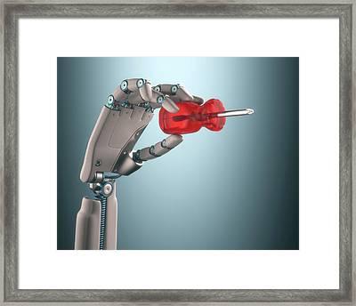 Robotic Hand Holding Screwdriver Framed Print by Ktsdesign