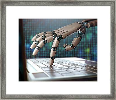 Robotic Hand Using A Laptop Computer Framed Print by Ktsdesign