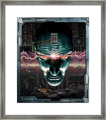 Robotic Sci-fi Face Framed Print