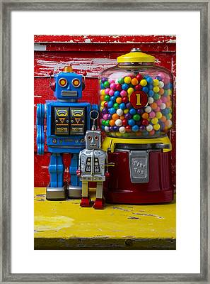 Robots And Bubblegum Machine Framed Print by Garry Gay