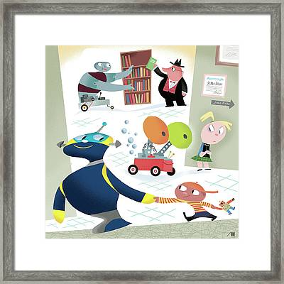 Robots And Children At School Framed Print